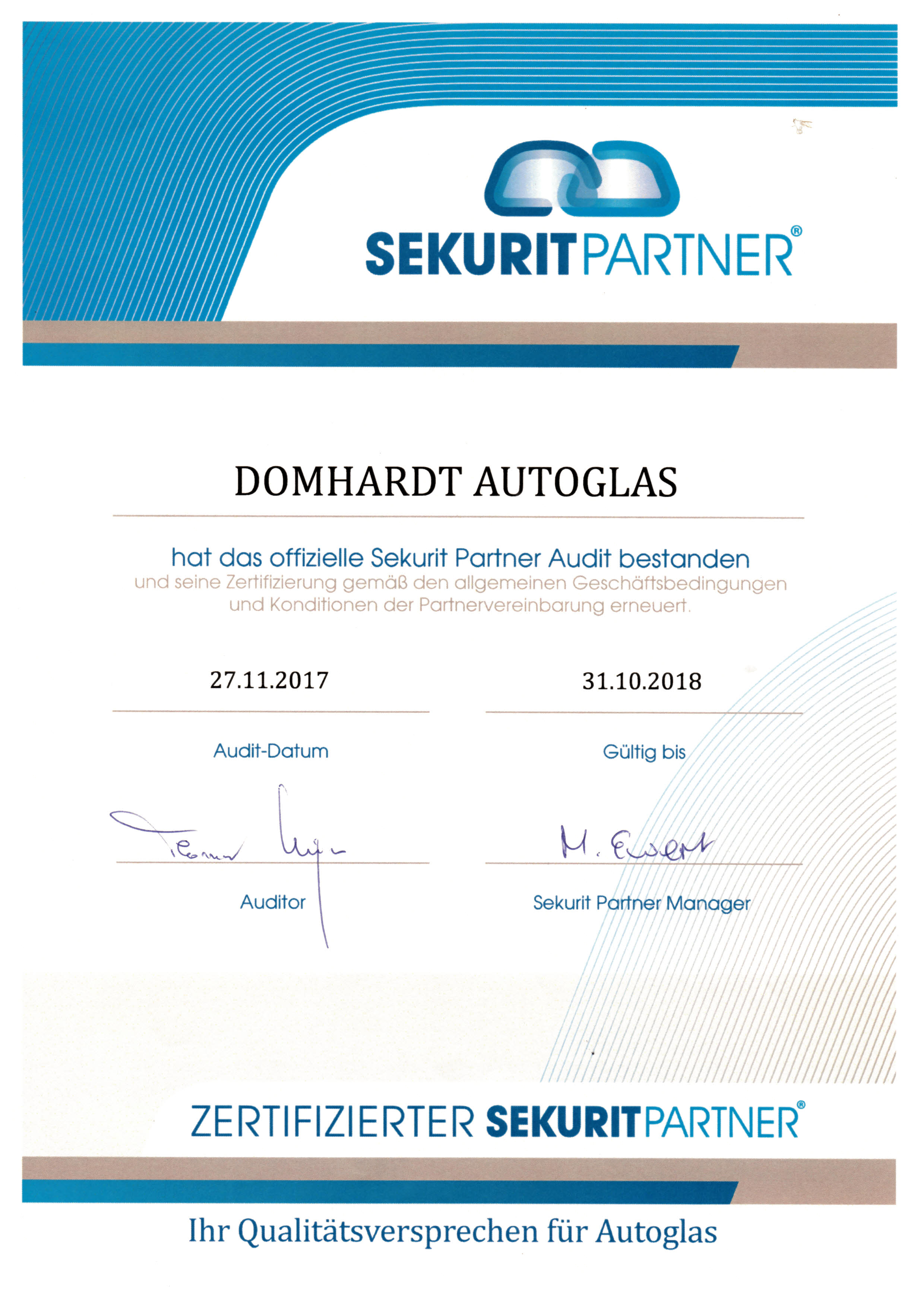 Zertifikat Sekurit Partner Audit
